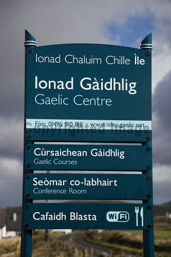 Ionad Chaluim Chille Ile - The Islay Columba Centre, a gaelic college offering a progressive year round range of classes, courses and activities and also offering many community facilities including a gaelic library, cafe, conference room and an exhibition space, Bowmore, Islay, Inner Hebrides...Pictured here the sign outside the building...Picture Credit : Mark Unsworth / HIE 2012,highlands,islands,enterprise,sunny,íle,ICCI,venue,culture,heritage,language,education,study,island,isle,argyll