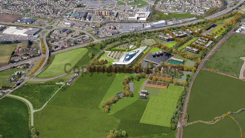 An aerial view of the proposed Inverness Campus being built east of the city centre of Inverness..The site will be a premier business location for inward investment to Scotland. It has the capacity to support up to 6,000 jobs over the next 30 years, and generate more than �38m for the regional economy every year. Construction began January 2012...Picture Credit : Inverness Campus / HIE. highlands,islands,enterprise,site,facility,education,UHI,university,college,computer,representation,graphic,generated,image
