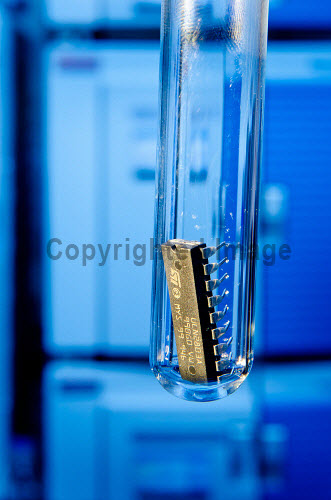 Digital Life Sciences stock photography shoot. .Microchip in a test tube in a life sciences laboratory (Lipidomics Facility at Centre for Health Science, Inverness)...Picture Credit : Tim Winterburn / HIE 2012,highlands,islands,enterprise,micro,chip,digital,science,healthcare,biology,chemistry,biochemistry,innovation,technology,biotech,biotechnology,innovative,IT,computer,test,tube