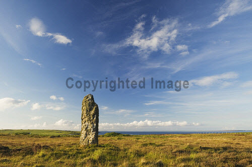 The Mor Stein standing stone, Shapinsay, Orkney..Picture Credit : Iain Sarjeant 2012,summer,sunny,island,islands,isle,isles,attraction,visitor,tourist,neolithic,archaelogy,archaelogical,clouds,scenic