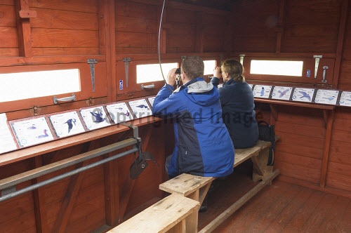 The hide at Mill Dam RSPB Nature Reserve, Shapinsay, Orkney..Picture Credit : Iain Sarjeant 2012,interior,island,islands,isle,isles,attraction,visitor,tourist,fauna,bird,birds,twitching,twitchers,watching,birdwatching,marsh,marshland,people,person,visitors,scenic