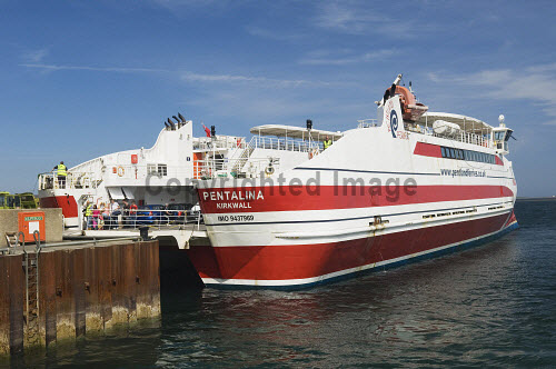 The MV Pentalina catamaran ferry run by Pentland Ferries in 2008 at St Margaret's Hope, South Ronaldsay, Orkney..Picture Credit : Iain Sarjeant 2012,summer,sunny,island,islands,isle,isles,transport,travel,travelling,traveller,travellers,boat,water,scenic