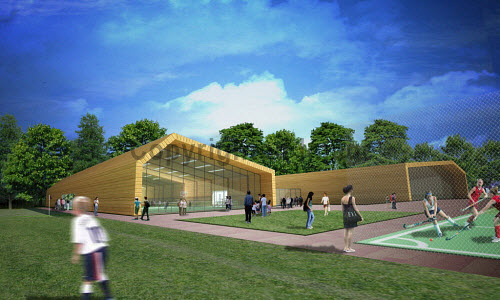 An artist's impression of the sport facilities of the Inverness Campus being built east of the city centre of Inverness..The site will be a premier business location for inward investment to Scotland. It has the capacity to support up to 6,000 jobs over the next 30 years, and generate more than �38m for the regional economy every year. Construction began January 2012...Picture Credit : Inverness Campus / HIE. highlands,islands,enterprise,site,facility,education,UHI,university,college,computer,representation,graphic,generated,image