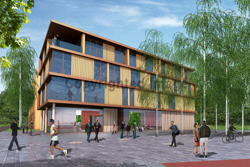 An artist's impression of the training hotel of the Inverness Campus being built east of the city centre of Inverness..The site will be a premier business location for inward investment to Scotland. It has the capacity to support up to 6,000 jobs over the next 30 years, and generate more than �38m for the regional economy every year. Construction began January 2012...Picture Credit : Inverness Campus / HIE. highlands,islands,enterprise,site,facility,education,UHI,university,college,accommodation,computer,representation,graphic,generated,image