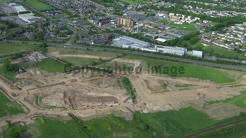 An aerial photograph of work in progress of the Inverness Campus being built east of the city centre of Inverness..The site will be a premier business location for inward investment to Scotland. It has the capacity to support up to 6,000 jobs over the next 30 years, and generate more than �38m for the regional economy every year. Construction began January 2012..29.0812..Picture Credit : Inverness Campus / HIE. 2012,highlands,islands,enterprise,site,facility,education,UHI,university,college,accommodation