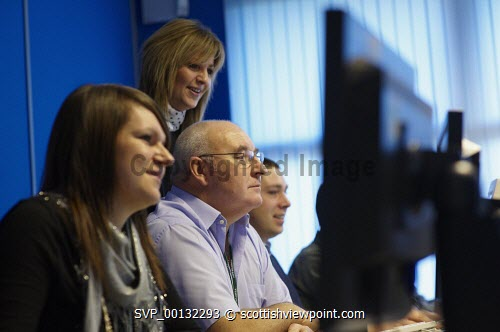 Staff members at Vertex contact centre in Dingwall.Picture Credit Ewen Weatherspoon / HIE CALL,2010,BUSINESS,INDUSTRY,WORKERS,EMPLOYEES,WORK,SERVICE,COMPUTER,COMPUTERS,TRAINING,TRAIN
