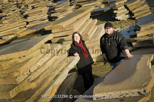 A & D Sutherland - Morag Goodfellow, HIE and Mark Mancini, A & D Sutherland.  Spittal Quarry, Caithness...Picture Credit Angus Mackay /HIE 2010,industry,production,flagstones,engineering,machinery,flagstone,stone