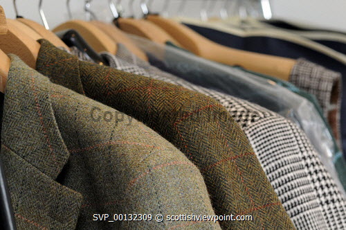 Breanish Tweed - a family based business at Port of Ness on the Isle of Lewis, Outer Hebrides..Breanish Tweed hand weaves a lightweight tweed using 100% natural yarn, all dyed and spun in Scotland..Cloth is supplied to the best bespoke tailors and fashion houses...Pictured here a detail of the finished product...31.07.10...Picture Credit: Leila Angus / HIE western isles,island,development,highlands,islands,enterprise,2010,material,manufacture,industry,handmade,clothiong,interior