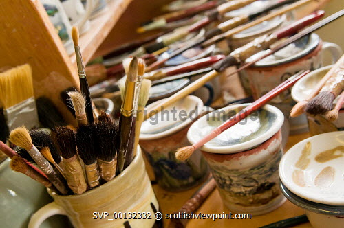 Highland Stoneware, Lochinver, Highlands of Scotland..Hand made and individually painted pottery...Pictured here paintbrushes and artist's materials...Picture Credit: Angus Mackay / HIE industry,art,arts,employment,investment,2010,craft,crafts,handmade,artist,design