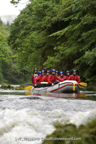 Highland Activities - an ambitious Lochaber based outdoor adventure business providing amongst other things, white water rafting, funyaking and canoeing trips has opened a third centre near Oban with assistance from Highland and Islands Enterprise (HIE) towards infrastructure and business growth. ..Group of French Scouts get to grips with white water rafting on the River Awe, co-ordinated by Highland Activities..Picture Credit : John MacTavish / HIE development,facilities,2010,activity,tourism,activities,loch awe,holiday park,sport,fun,young