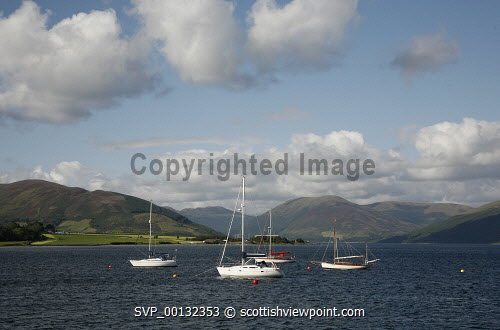 Yachts moored off the coast of the Island of Bute, Argyll and Bute..Picture credit Iain Mclean / HIE 2010,scenic,scenics,isle,coast,sunny,summer,bay,boats,hills,mountains
