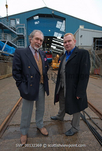 Colin Campbell and Colin McLean, HIE photographed on the main slipway at Crinan Boatyard Ltd. Crinan, Argyll...Picture Credit : Dennis Hardley / HIE 2010,BOAT,REPAIR,SLIPPING,SHED,MARINE,INDUSTRY,BOATS,JANUARY Dennis Hardley / HIE