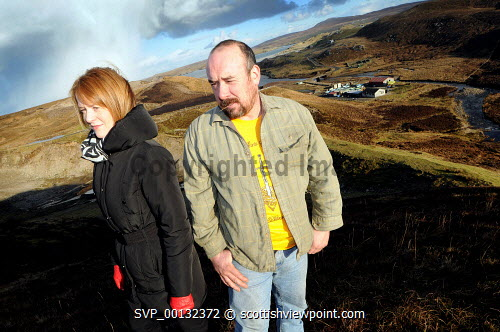 Marko Tayburn with Margaret MacLeod from HIE on the hills above Abhainn Dearg Distillery or Red River Distillery, Isle of Lewis...Picture Credit : Leila Angus/HIE whisky,production,industry,spirit of lewis,2010,island,isle Leila Angus / HIE