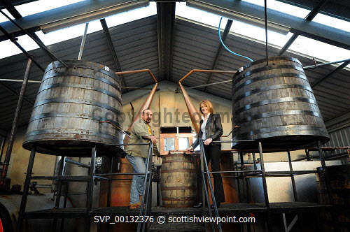 Marko Tayburn with Margaret MacLeod from HIE, Abhainn Dearg Distillery or Red River Distillery, Isle of Lewis...Picture Credit : Leila Angus/HIE whisky,production,industry,spirit of lewis,2010,island,isle Leila Angus / HIE