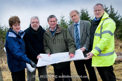 Latheron Lybster and Clyth Community Development Company have taken ownership of land at Rumster Forest, Caithness, Highland...The land was acquired from Forestry Commission Scotland using the National Forest Land Scheme with HIE providing some of the funding. Match funding towards the total costs of �80,000 also came from Dounreay Site Restoration whilst the community group raised �10,000 themselves. The 40 hectare site has been clear-felled, so the group now hope to start implementing their plans to restock 70% of the area as well as create some amenity areas. They also hope to submit a planning application in the spring to put two wind turbines on the site..Pictured here (L-R) Anne Sutherland, community powerdown officer; Marshall Bowman, director; Iain Gunn, director; Neil Buchanan, director; Eric Larnach, resource centre manager...Picture Credit : Angus Mackay / HIE 2011,LLCCDC,highlands,islands,enterprise,trees,energy,project,power,alternative