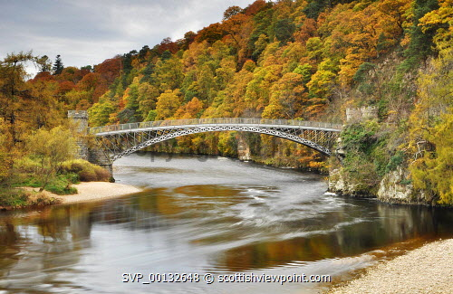 The Telford Bridge over the River Spey at Craigellachie, Moray...Picture Credit: Tim Winterburn / HIE 2011,autumn,autumnal,atmospheric,scenic,view,viewpoint,Morayshire,landscape,highlands,islands,enterprise,woodland,wood,water
