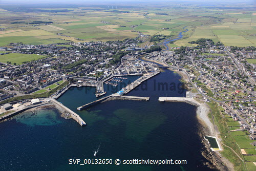 An aerial view of Wick, Highland...Picture Credit : Gordon Doull / HIE 2011,highlands,islands,enterprise,summer,sunny,harbour,dramatic,scenic,marina,coast,coastal,housing,port,caithness,industry,fishing,leisure,sailing