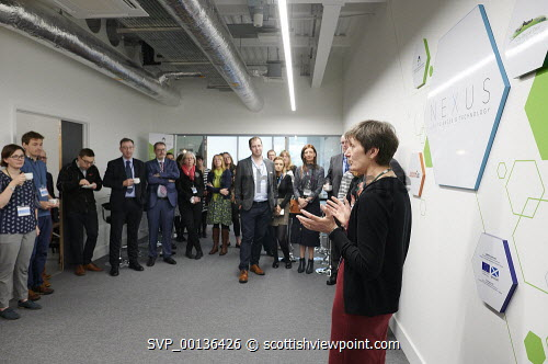 Nexus Launch, Solasta House. Inverness Campus Carroll Buxton HIE speaking at the event Picture Credit Ewen Weatherspoon /HIE  7/06/2019 2019,NEXUS,LAUNCH,people,chatting,chat,interact,interaction,mingle,mingling,networking,business,breakfast,opening,audience