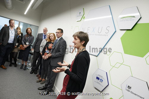 Nexus Launch, Solasta House. Inverness CampusCarroll Buxton HIE speaking at the eventPicture Credit Ewen Weatherspoon /HIE7/06/2019 2019,NEXUS,LAUNCH,people,chatting,chat,interact,interaction,mingle,mingling,networking,business,breakfast,opening,audience