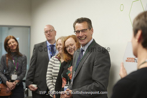 Nexus Launch, Solasta House. Inverness Campus Carroll Buxton HIE speaking at the event to James Cameron HIE Picture Credit Ewen Weatherspoon /HIE  7/06/2019 2019,NEXUS,LAUNCH,people,chatting,chat,interact,interaction,mingle,mingling,networking,business,breakfast,opening,audience