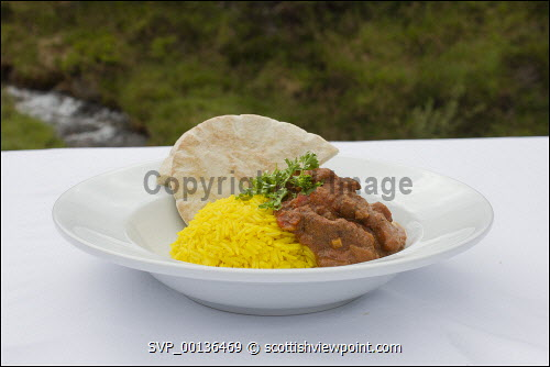 Curry with rice and breads