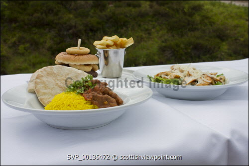 A burger and chips and chicken salad and a curry   Picture Credit Ruari MacDonald 2019,Cairngorm,Cairngorms,National,Park,Mountain,food,burger,chips,fries,burgers,bap,roll,chicken,salad,rice,curry,bread,breads,curries Ruari MacDonald