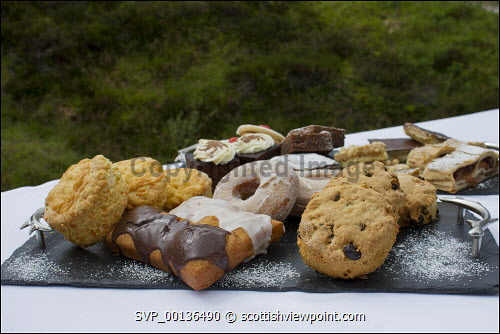 Tray bake platter of cakes and scone
