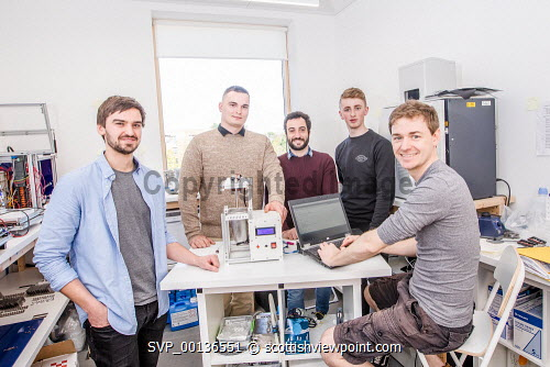 Young people within Nexus, based at Solasta House, Inverness Campus.  Pictured:   Jonathan Fairfoull,  Ilja Magdenko, Alessio Renna, Reece Moyes and Dr Pierre Bonnin.Paul Campbell/HIE 2019,Nexus,young,people,may Paul Campbell/HIE