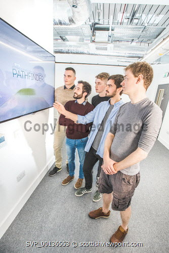 Young people within Nexus, based at Solasta House, Inverness Campus.    Pictured:   Ilja Magdenko, Alessio Renna, Reece Moyes,  Jonathan Fairfoull and Dr Pierre Bonnin.  Paul Campbell/HIE 2019,Nexus,young,people,may Paul Campbell/HIE