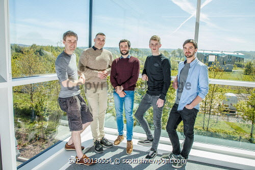 Young people within Nexus, based at Solasta House, Inverness Campus.  Pictured:  Dr Pierre Bonnin,  Ilja Magdenko, Alessio Renna, Reece Moyes and Jonathan Fairfoull.Paul Campbell/HIE 2019,Nexus,young,people,may Paul Campbell/HIE