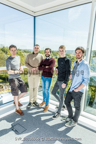 Young people within Nexus, based at Solasta House, Inverness Campus.    Pictured:  Dr Pierre Bonnin,  Ilja Magdenko, Alessio Renna, Reece Moyes and Jonathan Fairfoull.  Paul Campbell/HIE 2019,Nexus,young,people,may Paul Campbell/HIE
