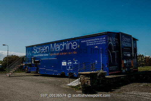Screen Machine , Liniclate, Benbecula, Outer Hebrides   Picture Credit : Jennifer Campbell/HIE 2019,Screen Machine,cinema,communites,creative industries,film,lorry,movies,movie,exterior,island,islands,isle,isles Clickybox Photography