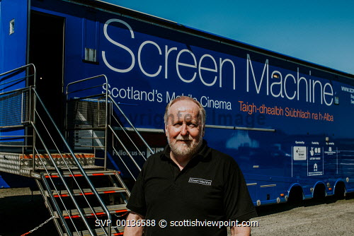 Screen Machine , Liniclate, Benbecula, Outer Hebrides Pictured Iain MacColl  Picture Credit : Jennifer Campbell/HIE 2019,Screen Machine,cinema,communites,creative industries,film,lorry,movies,movie,exterior,island,islands,isle,isles Clickybox Photography