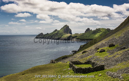 Cleitts and sheep  enclosure and Dun, Hirta, St Kilda uk,u.k,Great Britain,GB,G.B,Scotland,Scottish,nobody,daytime,outdoors,atmospheric,enchanting,hebridean,rugged,remote,peaceful,nostalgic,sea,shore,abandoned,clearances,nature,escapism,colony,nature reserve,ruins,wildlife,visit scotland,unesco world heritage,snh,scottish natural heritage,National Trust for Scotland,st kilda,hirta,united kingdom,atlantic,blue,green,enclosures,fanks,islets,isthmus,headland,island,bay,dun,dry stone,dyke,in memory,historic,subsistance,archipelago,cleits,cleats,settlement