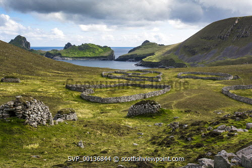 Crofting remains of dry stone workings on Hirta from The Gap uk,u.k,Great Britain,GB,G.B,Scotland,Scottish,nobody,daytime,outdoors,hebridean,rugged,remote,peaceful,nostalgic,sea,shore,abandoned,clearances,nature,escapism,colony,nature reserve,ruins,wildlife,visit scotland,unesco world heritage,snh,scottish natural heritage,National Trust for Scotland,st kilda,hirta,united kingdom,atlantic,in memory,historic,subsistance,archipelago,green,dyke,enclosures,fanks,cleits,cleats,islets,island,isthmus,moorland,settlement