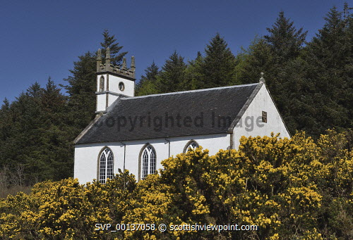 dunvegan parish church;isle of skye;scotland uk,u.k,Great Britain,GB,G.B,Scotland,Scottish,nobody,daytime,outdoors,skye,island,isle,isle of skye,church,kirk,gorse,parish church,dunvegan,dunvegan parish church,duirinish,church of scotland
