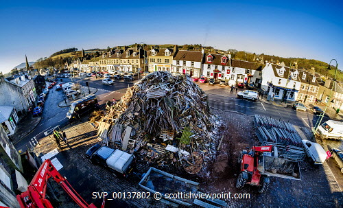 The huge Biggar hogmanay bonfire in the High Street, which will be lit by local resident Bobby Boyd MBE at 9.30pm tonight (Hogmanay - 31st December 2019).