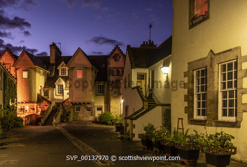 White Horse Close at dusk, Canongate, Royal Mile,  Edinburgh. united kingdom,edinburgh,scotland,lothians,capital city of scotland,auld reekie,dusk,damp,moody,wet,ambient light,atmospheric,whitehorse close,canongate,old town,royal mile,holyrood,close,artisan's,houses,town houses,terraced,b listed,upmarket,restored,pretty,graceful,elegant,dwelling,living