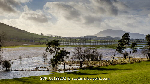 Srotm Ciara causes wide spread flooding across agricultural land in the Scottish Borders Flood,Flooding,Scotland,Storm Ciara,heavy rain,weather,weather picture,Scottish Borders,winter landscape,flooded fields