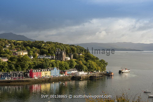 Tobermory Harbour, Mull calmac,argyll,mull,inner,hebrides,tobermory,sailing,bright,blue sky,hebridean,peaceful,summer,sunny,white,clouds,colourful,red,blue,yellow,bay,sea,holiday homes,hotel,house,ferry,sailing boat,harbour,jetty,mooring,pier,port,town,holiday village,restored,romance,highland,escapism,sound of mull,scotland,united kingdom,atlantic,caledonian macbrayne,coast,coastal,coastline,water