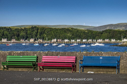 Coloured benches, Millport, Great Cumbrae blue sky,bright,pretty,peaceful,sunset,summer,tranquil,blue,colourful,bay,sea,island,great cumbrae,millport,united kingdom,firth of clyde,scotland,bench,sailing boat,marina,harbour,coastal path,boats,boat