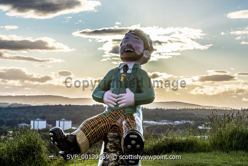 view from observatory of Dundee city With Oor Wullie installation  Editorial Use only United Kingdom,scotland,angus,dundee,urban,oor wullie,the broons,owbbt,urban art,art installation,sculpture,music culture arts,sponsorship