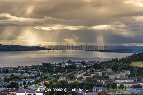 view from observatory of Dundee city with dramatic sky View from observatory of Dundee City and Tay Estuary,United Kingdom,scotland,angus,dundee,river tay,cbd,central business district,houses,port,tay estuary,atmospheric,dramatic,river,estuary