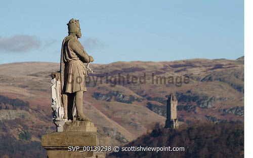The Statue of Robert the Bruce at Stirling Castle with a view beyond to the Wallace Monument stirling,city,nobody,outdoors,daytime