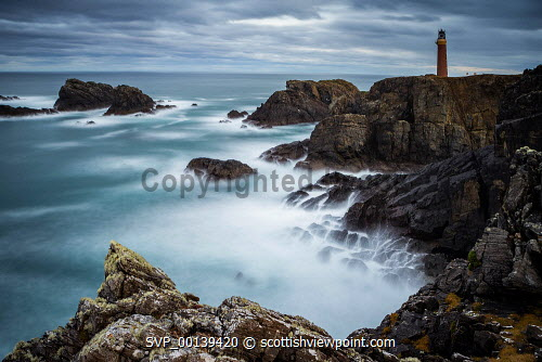 A dramatic overcst evening shot using a long exposure overlooking the Butt of Lewis Lightouse, Outer Hebridies, Scotland Butt of Lewis,atlantic,atmospheric,beauty,cliffs,coast,coastal,coastline,dramatic,dusk,evening light,geography,geology,isle of lewis,light-house,lighthouse,long exposure,moody,outer hebrides,peninsula,remote,rocky,rugged,rugged coastline,scenery,scenic,scotland,scottish,scottish coast,seascape,shoreline,travel,uk