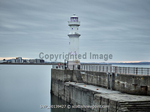 The harbour at Newhaven, Edinburgh newhaven,edinburgh,harbour,harbor,long exposure,evening,dusk,cloudy,medium format,lighthouse,wall,overcast,clouds,scotland,scottish,quay,quayside,maritime,marine,firth of forth,forth,low tide,tide,empty,emptiness