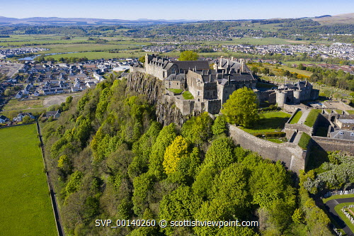 Elevated view of Stirling Castle, Stirling, Scotland, UK Stirling Castle scotland,Scottish castle,stirling,scotland,stirling castle,exterior,aerial view,drone,image,daytime,nobody,Uk,United kingdom,britain,british,tourism,travel,tourist attraction,destination,landmark,historical monument,castles,famous place,stirlingshire