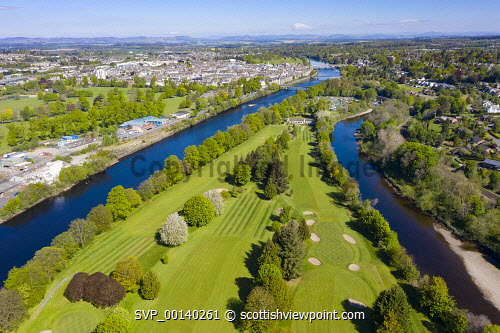 Aerial view of King James VI Golf Club golf course on Moncreiffe Island in River Tay, Perth, Scotland, UK Perth,River Tay,moncreiffe Island Perth,King james VI golf club perth,Scotland,Scottish town,perth scotland,scotland perth,scottish golf course,uk,United Kingdom,Britain,aerial view,drone image,perthshire,golf courses scotland