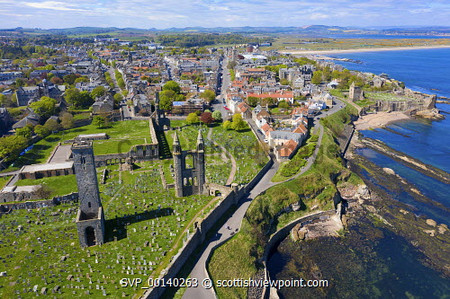 Aerial view of St Andrews Cathedral and city in St Andrews , Fife, Scotland, UK St Andrews,St Andrews Scotland,St Andrews Cathedral,aerial view,drone image,daytime,from above,elevated viewpoint,fife,scottish town,UK,United kingdom,britain,British,historical monument,ruin,ruined cathedral,landmark,tourist attraction,historic,coast,coastal