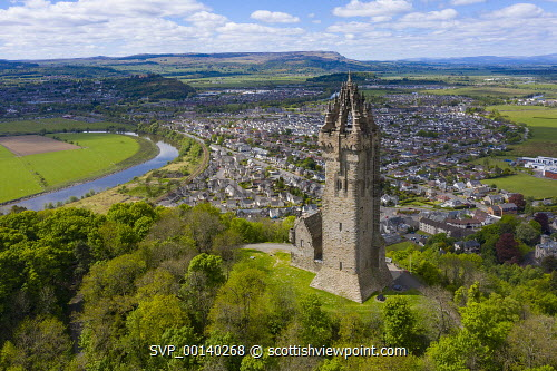 Aerial view of the National Wallace Monument  tower  on Abbey Craig, Memorial to William Wallace, Stirling, Scotland,UK Stirling,Wallace Monument Scotland,Wallace Monument stirling,National Wallace monument Scotland,Aerial view,drone image,covid-19 lockdown,closed,coronavirus lockdown,tourism,travel,stirlingshire,mmonuments,landmark,UK,United Kingdom,Britain,British,daytime,exterior,Scottish monument,landscape,famous place,fampus places,destination,old,historical,historic,stirling wallace monument